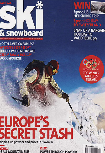 Cover shot of the Daily Mail Ski and Snowboard magazine including their press review CoolBoard wobble board