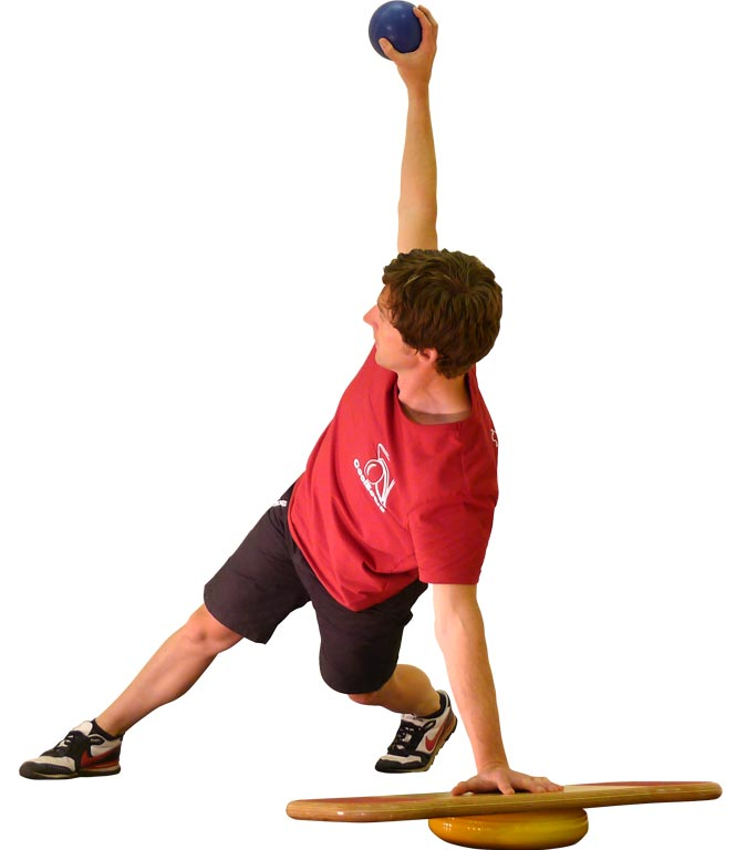 Man doing a Windmill Core Exercise on his CoolBoard for Core Strength