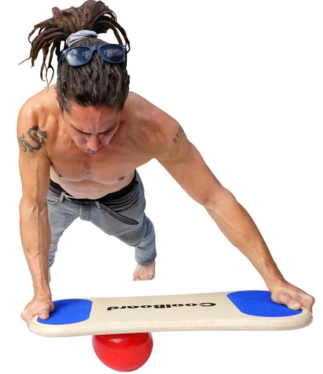 Man with ripped muscles doing Core Busting Core Exercise CoolBoard Sliding Plank