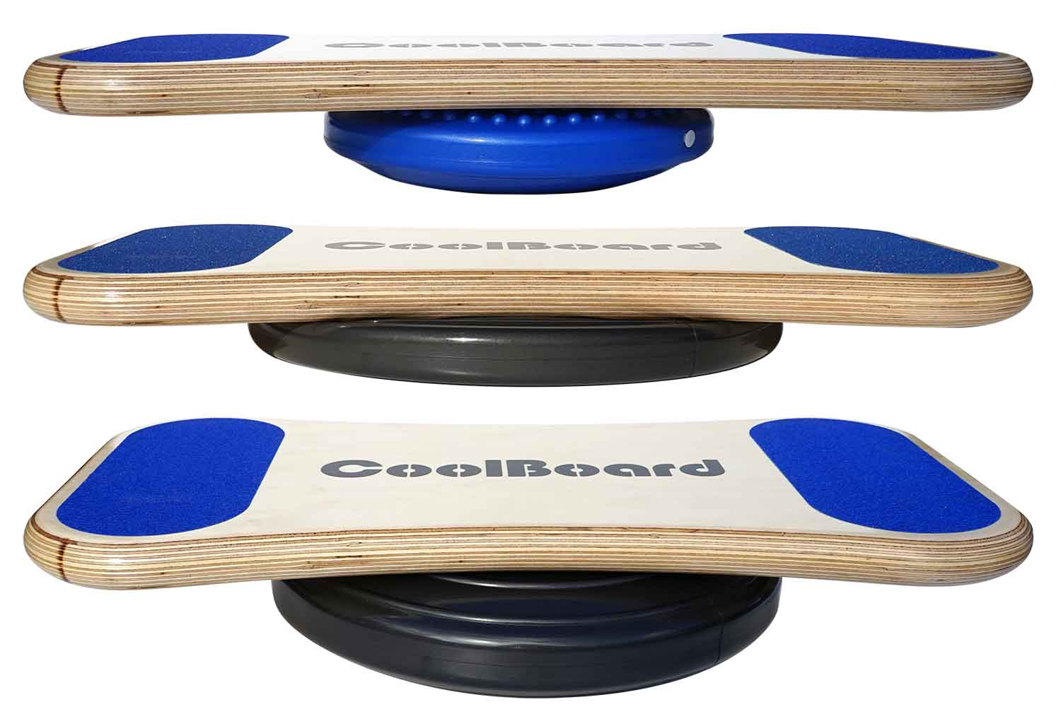 showing CoolBoard wobble board adjustability - two sizes of disc - both adjustable by inflation by mouth