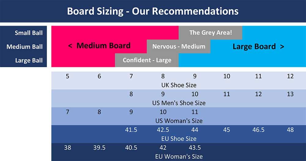 CoolBoard balance board sizing chart