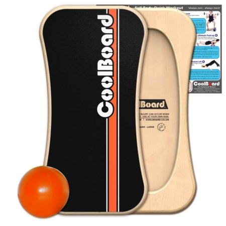 CoolBoard balance board with Ball and core workout showing exercises