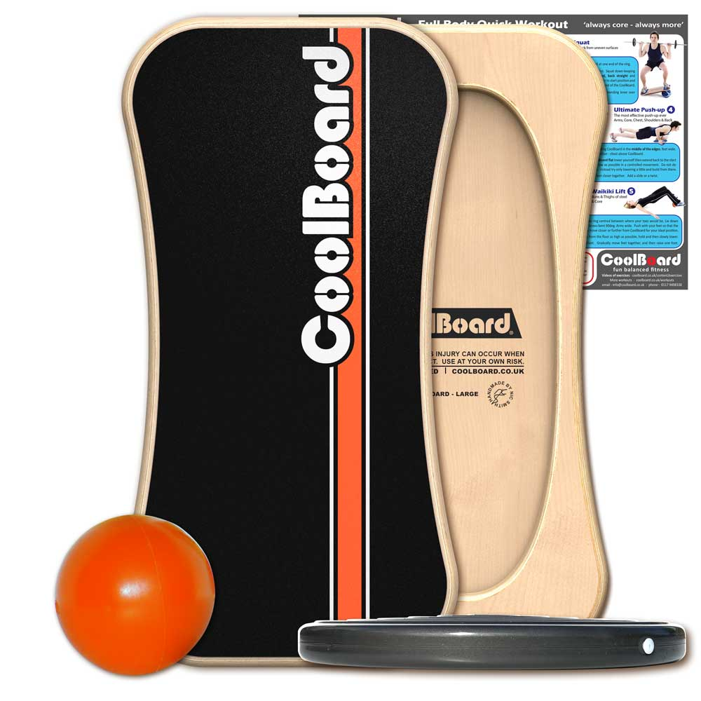 CoolBoard wobble board balance board with Ball, Disc and core workout showing exercises