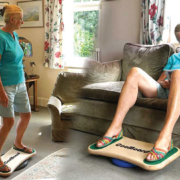 CoolBoard adjustable wobble board used sitting for mobility and standing for balance training