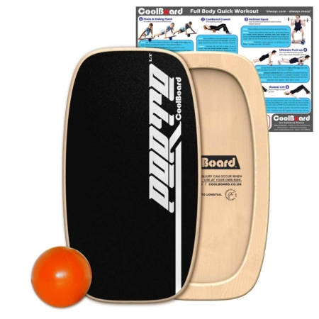 Porto LongTail balance board with Ball and core workout showing exercises