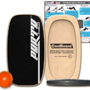 Porto LongTail wobble board balance board with Ball, Disc and core workout showing exercises