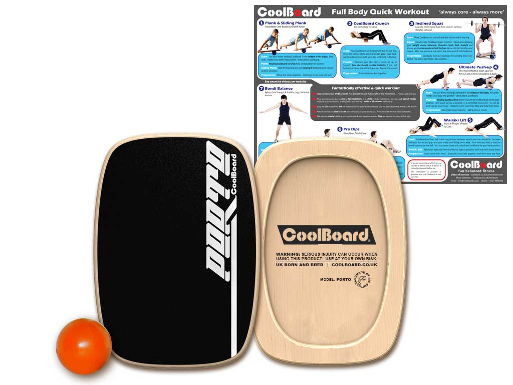 Porto balance board with Ball and core workout showing exercises
