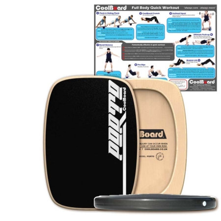 Porto wobble board with Disc and core workout showing exercises