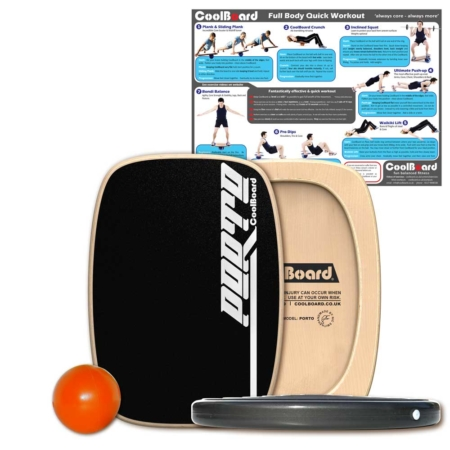 Porto wobble board balance board with Ball, Disc and core workout showing exercises